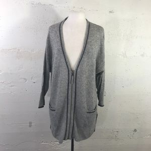 Nordstrom 100% Cashmere Grey Zip Front Tunic Cardi